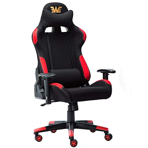 Seat Racing Reclining Cloth - Racing Style Fabirc Gaming Chair Breathable Ergonomic Office Computer Chair with Lumbar Support and Headrest Black and Red