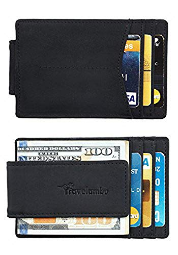 Travelambo Money Clip Front Pocket Wallet Slim Minimalist Wallet RFID Blocking (elite black) ()