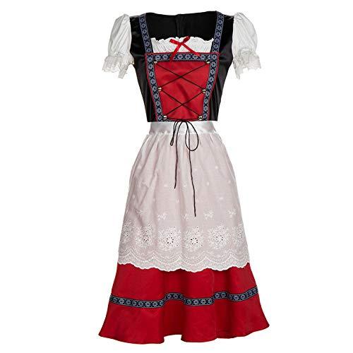 Amyove Mujeres Oktoberfest Retro Red Midi vestido bávaro ...