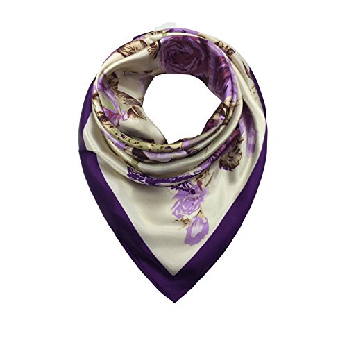 TONY AND CANDICE Women's Square Scarf 100% Polyester Silk Feeling, 33X33 Inch (Color - Mall The Square One