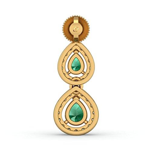 Or jaune 18K 0,48CT TW White-diamond (IJ | SI) et émeraude Boucles d'oreilles pendantes