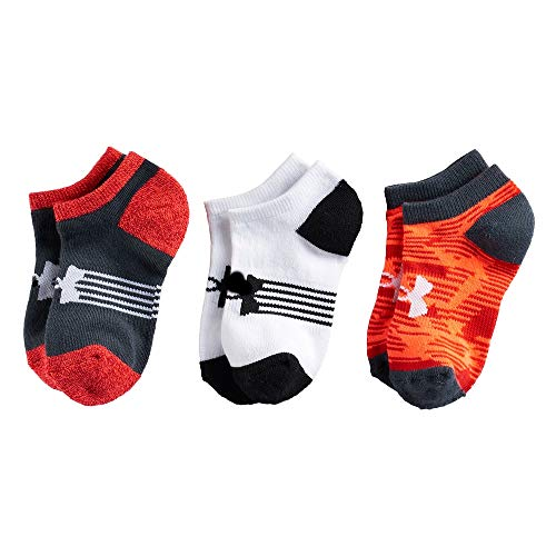 Under Armour Kids' UA Next Statement No Show Socks 3-Pack (Youth Medium (Youth Shoe Size 4Y-8Y), - Socks White Cincinnati Reds