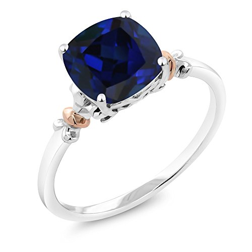 Rose Ring Sapphire (925 Sterling Silver and 10K Rose Gold Ring Blue Simulated-Sapphire 2.50 cttw, 8x8mm Cushion (Size 7))