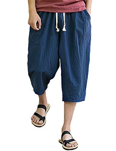 Rexcyril Men's Baggy Linen Capri Pants, Casual Loose Drawstring Harem Yoga Long Shorts with Pockets Navy Blue ()