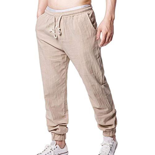 Tasche Stile Uomo Pantaloni Semplice Morbido Con Khaki In Elasticizzato Allentato Lino Coulisse Estivi Laterali 1x6xUwqP