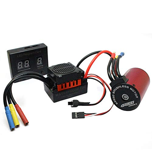 - Livoty S3650 4300KV Sensorless Waterproof Brushless Motor with 60A ESC with Digital LED Program Card Combo for RC Off-Road Car Boat