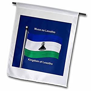 777images Flags and Maps - Africa - Waving flag of Lesotho with the Kingdom of Lesotho printed in English and Sesotho. - 18 x 27 inch Garden Flag (fl_99134_2)