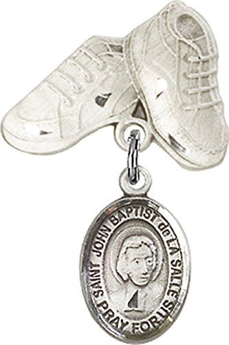Sterling Silver Baby Badge Baby Boots Pin with Saint John Baptist de la Salle Charm, 3/4 ()