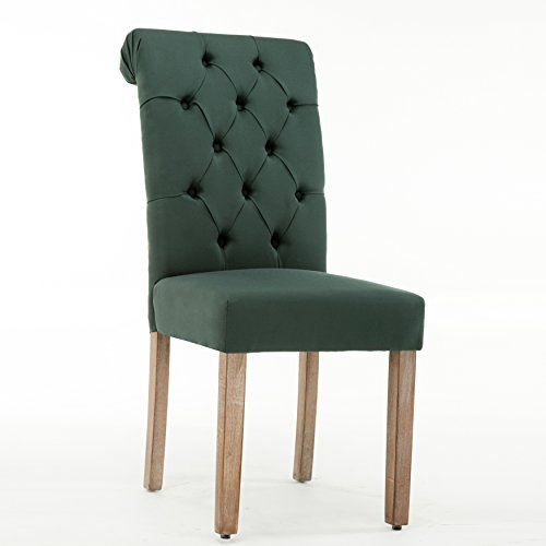 Christies Home Living Natalie Green Linen/Wooden Roll-top Tufted Dining Chair (Set of 2)