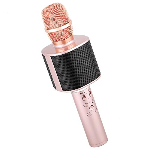 Mbuynow Wireless Bluetooth Karaoke Microphone with Phone Holder, Portable Karaoke Machine Speaker Home Party Birthday for Android/iPhone/iPad/Sony/PC (Rose Gold)