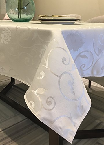 Lustre Weave Flowery Medium Weight Fabric Tablecloth (60