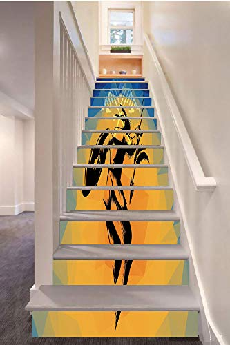 SoSung Native American 3D Stair Riser Stickers Removable Wall Murals Stickers,War Dance Ritual Against Ancient Totem Poly Effect Triangles Abstract,for Home Decor 39.3