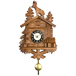 River City Clocks Quartz Novelty Clock - Chalet with Billy Goat on Roof - 8 Inches Tall - Model # 137-08QP