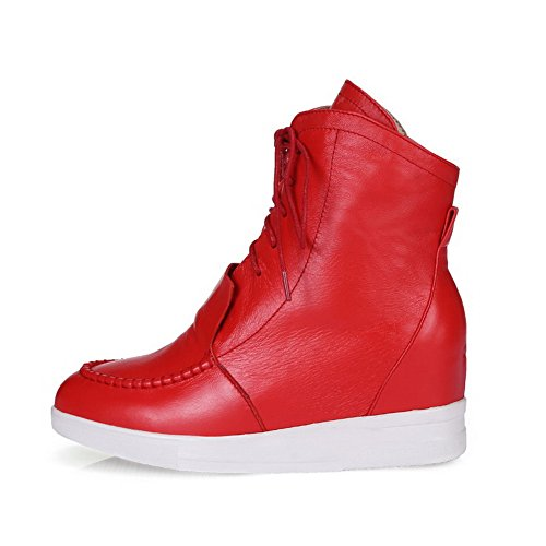 Bandage Blend and with Materials Closed 37 WeiPoot Women's Red Toe Boots Solid Thread p5w66v