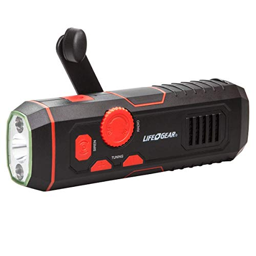 Life Gear LG38-60675-RED Stormproof Crank Flashlight   Radio with USB Charging In Out, Emergency Siren