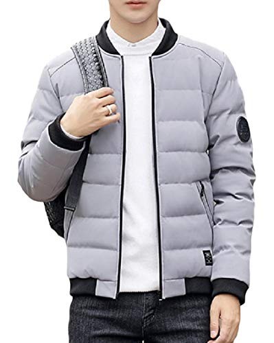 Long Grey Zip Outwear Men's Energy Collar Sleeve Stand Thick Down Pocket Warm RgxxpPE