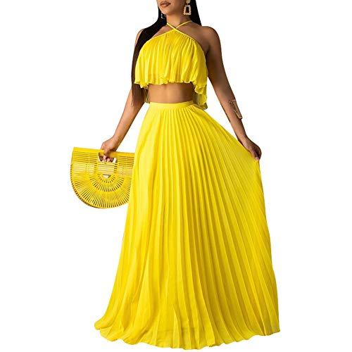 - acelyn Women's Casual Pleated Chiffon Halter Crop Top Maxi Skirt Set 2 Piece Long Dress Outfits Beach Sundress Yellow Medium