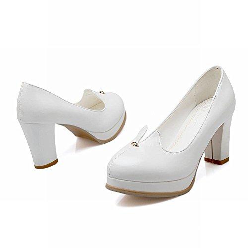 Mee Shoes Damen modern süß bequem dicker Absatz runder toe Geschlossen Plateau Pumps Weiß