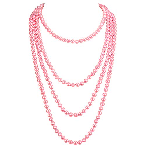 (KOSMOS-LI 1920s Retro Faux Pearls Pink Beads Cluster Long Pearl Necklace 58