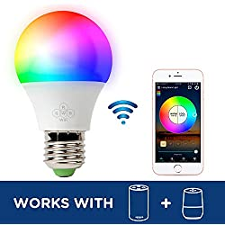 RGB LED Smart Bulb,WiFi Light Bulb,Multicolor,Dimmable,No Hub Required, 60W Equivalent, Works with Amazon Echo Alexa and Google Home Assistant,CE/FCC/UL Listed (1-Pack-6.5W)