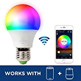 RGB LED Smart Bulb,WiFi Light Bulb,Multicolor,Dimmable,No Hub Required, 40W Equivalent, Works with Amazon Echo Alexa and Google Home Assistant,2700K-6500K,450lm,CE/FCC/UL Listed (1-pack-4.5W)