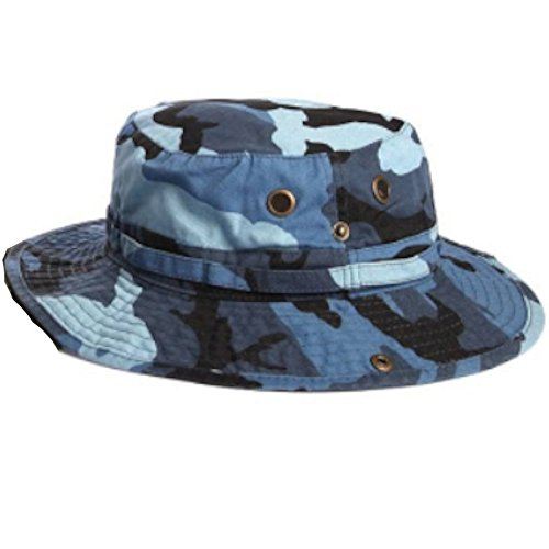 100% Cotton Boonie Fishing Bucket Hat with String-Blue - Import It All 3a286ba2459
