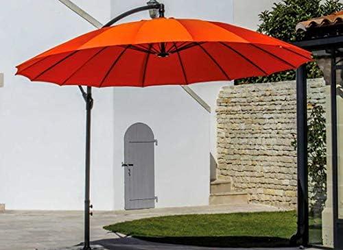 Parasol excéntrico diámetro 300 cm, diseño de pagoda, Mandarina ...