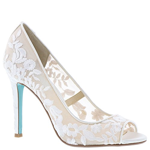 Bridal Wedding Pumps - Blue by Betsey Johnson Women's SB-Adley Dress Pump, Ivory Fabric, 6 M US