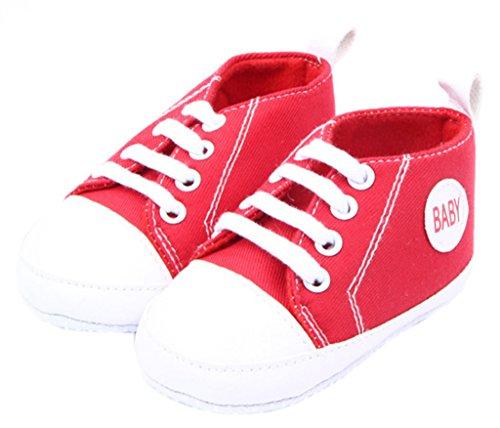 Smile YKK Baby-Mädchen Segeltuch Sandalette Lauflernschuhe 11 Lila Rot