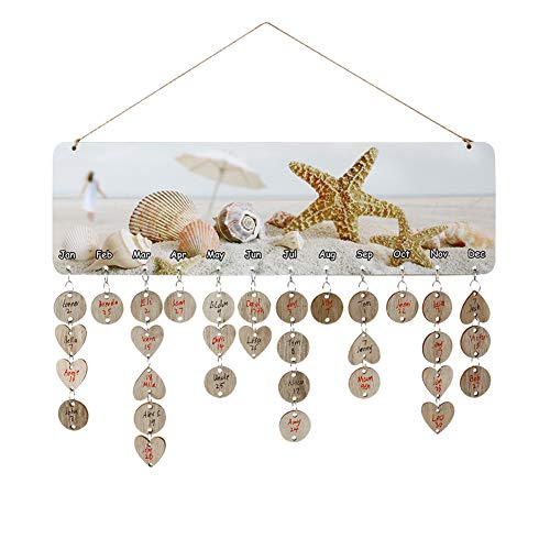 (Joy-Leo Gifts for Moms Dads - DIY Wooden Perpetual Birthday Reminder Calendar Board Wall Hanging [100 Wood Discs/Beach Starfish Pattern], for Family & Friends & Classroom)