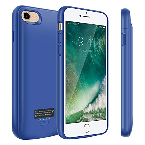 Battery Case for iPhone 8/7, 4000mAh Portable Charger Case, Rechargeable Extended Battery Charging Case for iPhone 8/7(4.7 inch), Compatible with Wire Headphones-Blue