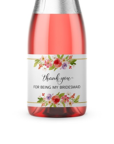 ● SET of 8 ● Thank You For Being My Bridesmaid Mini Champagne Labels, Maid of Honor, Matron of Honor Gifts - Bridesmaid THANK YOUs, Bridal Party Bubbly Tote Gift Ideas, Wedding Favors, M905-THANK-8