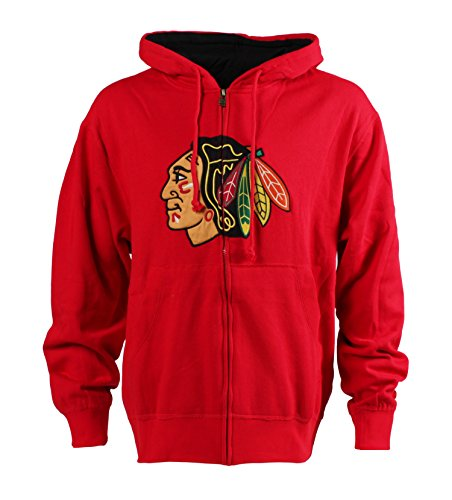 NHL Chicago Blackhawks Men's Conway Full-Zip Style 2 Hoodie, Medium, Red