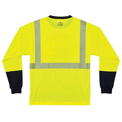 Ergodyne GloWear 8281BK ANSI Black Bottom High Visibility Long Sleeve Reflective Safety Shirt, Lime, Medium by Ergodyne (Image #2)