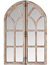 "Amazon Brand – Stone & Beam Vintage Farmhouse Wooden Arched Multipanel Mantel Mirror, 36"" H, Dark Stain"