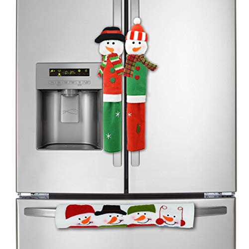 Enthur Refrigerator Door Handle Covers,Cute Snowman Kitchen Appliance Handle Covers with Two Hanging Strings. Idea for Christmas Decoration -Set of 3 Upgrade Design