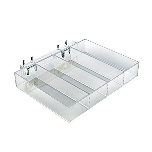 Azar Displays 225544-2pack Four-Compartment Tray for Pegboard/Slatwall (Pack of 2) (Tray Slatwall)