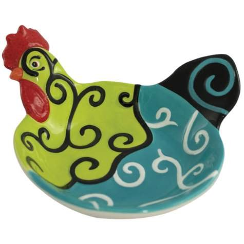 2.25 Inch Whirl of Swirls Decorated Collectible Rooster Appetizer Bowl - Decorated Collectible Rooster