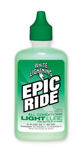 White Lightning Epic Ride All Conditions Light Bicycle Chain Lube, 2oz Drip Squeeze (Bike Lube)