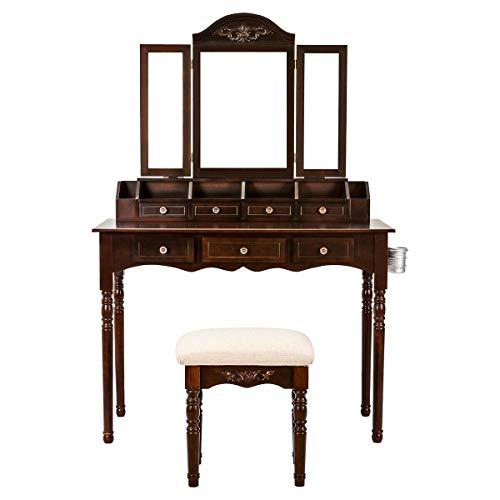 Oriental Style Vanity Makeup Dressing Table Set Folding Mirror Desk Dresser W/Stool Wood Room Bathroom Bedroom Hallway Home Office/Study Kid's Bedroom Teen's Bedroom Furniture 7 Drawer Storage