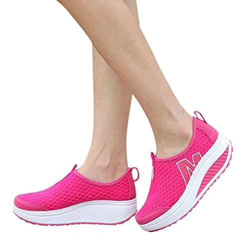 vermers Clearance Sale Fashion Women Platform Shoes - Women's Loafers Breathable Air Mesh Swing Wedges Shoes(US:8, Hot Pink) by vermers