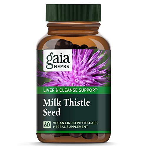 Gaia Herbs Milk Thistle Seed, Vegan Liquid Capsules, 60Count – Liver Cleanse Supplement to Support Detox & Metabolism, 600 mg Concentrated Extract