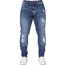 New ENZO Mens Skinny Super Stretch Fit Ripped Denim Jeans All Waist Blue Black White
