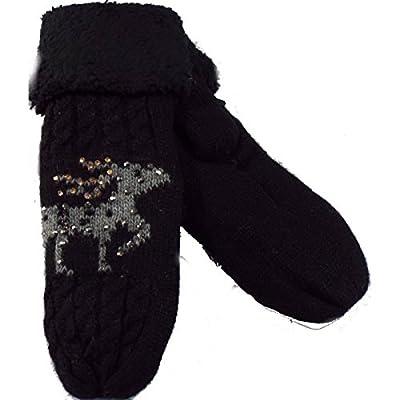 1 paire de moufle doublé femme cerf noir ou marine.