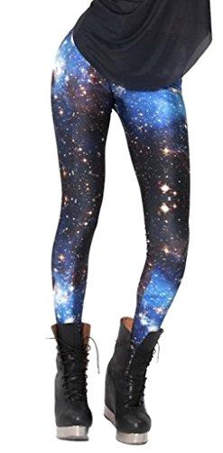 Bigood Leggings Sexy Pantalons Collants Femme Pantalon de Crayon Galaxie Bleu