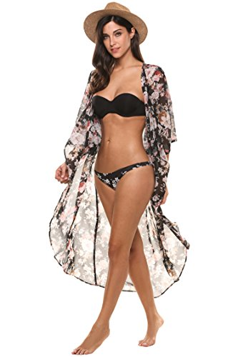 Beyove Women's Chiffon Kimono Beach Bikini Cover Up Floral Cardigan, Black1, Medium