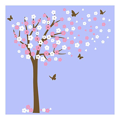 (Huge Cherry Blossom Tree Blowing in The Wind Wall Decals Nursery Tree Flowers Butterfly Art Baby Kids Room Wall Sticker Wall Décor)