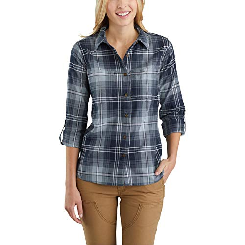 Carhartt Women's Fairview Plaid Shirt, Navy, Medium by Carhartt