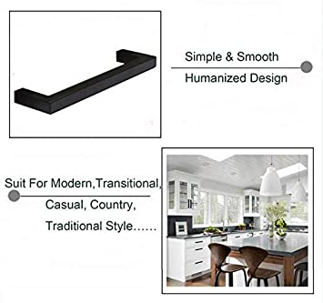 5Pack Goldenwarm Black Square Bar Cabinet Pull Drawer Handle Stainless Steel Modern Hardware for Kitchen and Bathroom Cabinets Cupboard Center to Center 12-3//5in 320mm