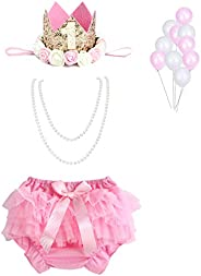 WELROG - Baby Girls Cake Smash Outfit, Fishing Party Diaper Cover Tutu Skirt Set First Birthday Dress Pants wi